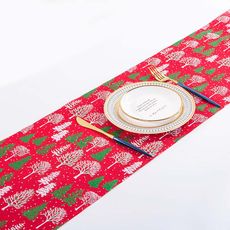 Mesmerizing Christmas Elements Print Table Runners for Fancy Dinner