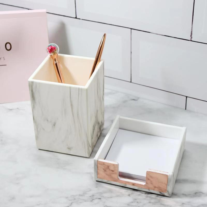 White Marble Pen Holder and Stapler