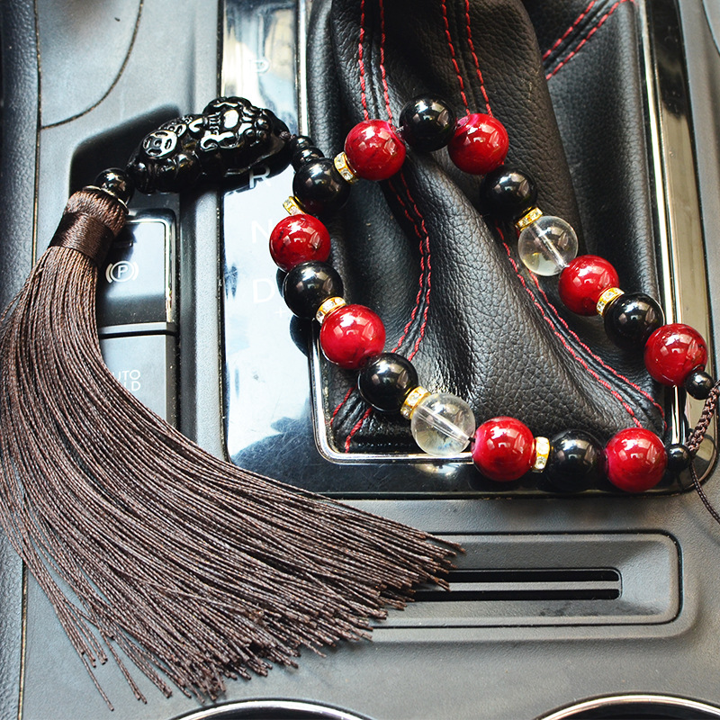 Buddha Beads with Thick Tassel Mirror Charm for Car Decorations