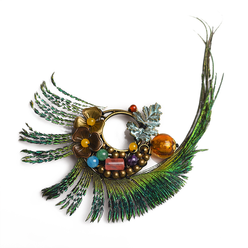 Spectacular Faux Peacock Feather Vintage Brooch for Adding Onto Accessories