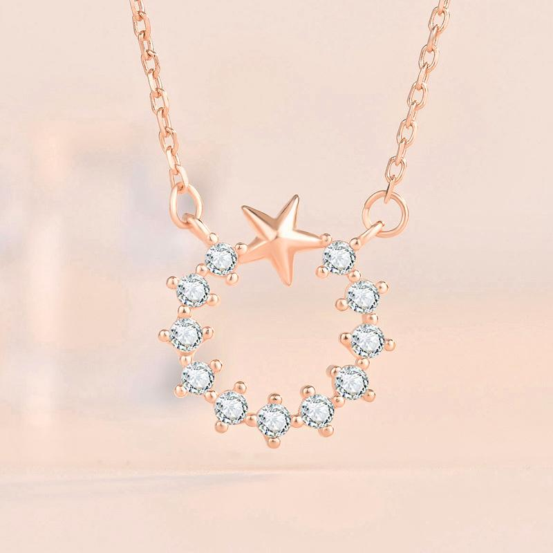 Star in Crystal Circle Necklace