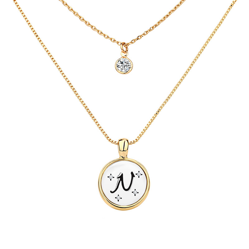 Sparkly Two Layer Initial Necklace