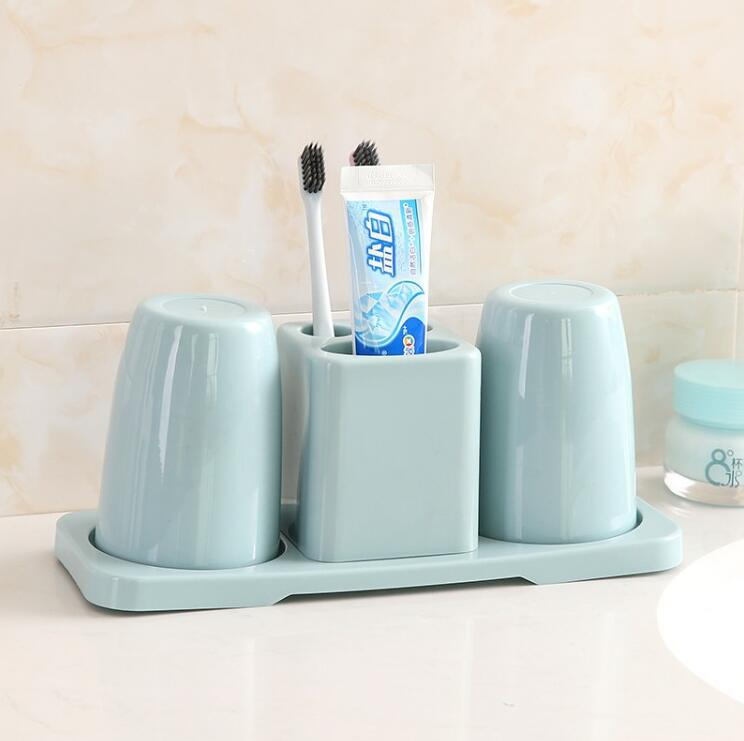 Solid-Colored Plastic Toothbrush Holder and Mouthwash Cups for Family Bathrooms