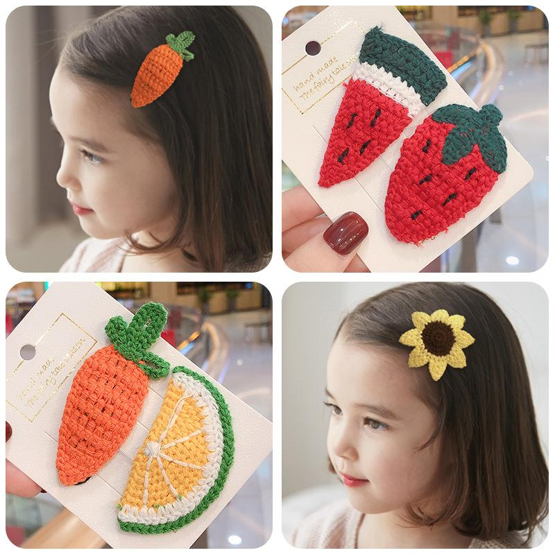 Children's wool knitted fruit hairpin