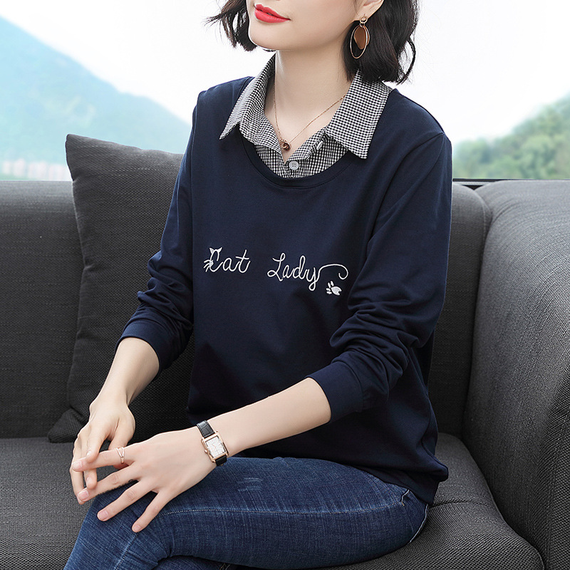 """Trendy Two-Layered Long-Sleeved Flat Collar """"Cat Lady"""" Top for Middle-Aged Women"""