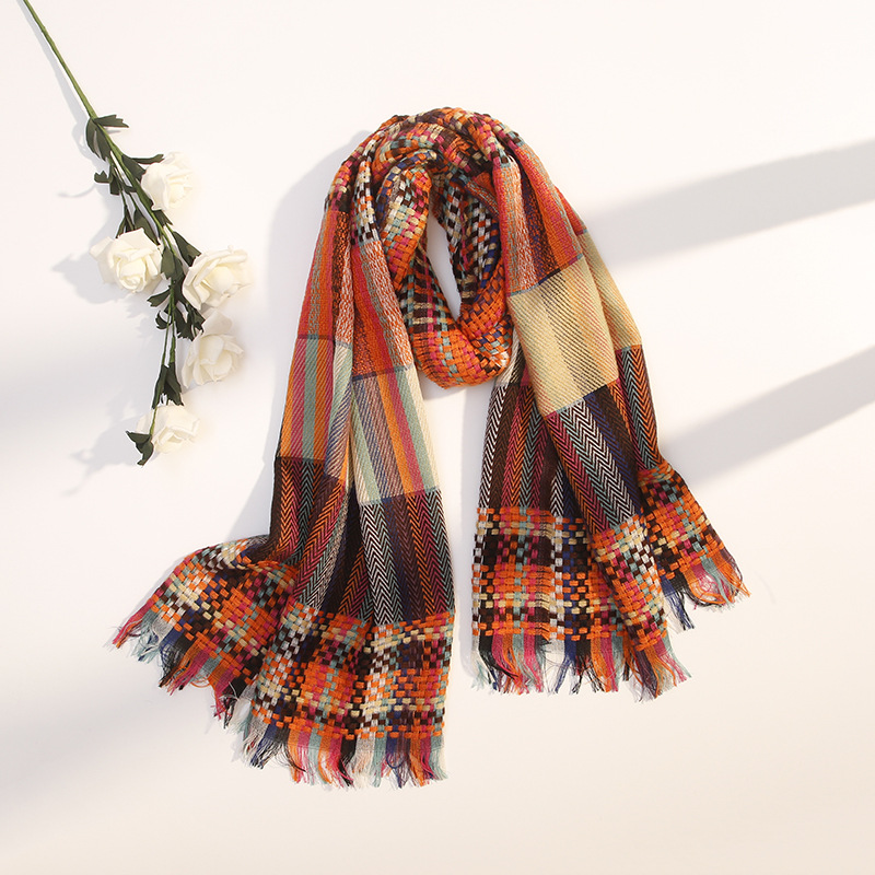 Korean Style Multi-Colored Plaid Knitted Scarf for Students Daily School Wear