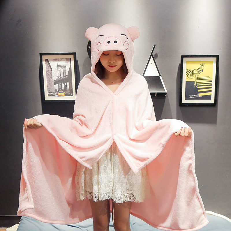 Cute Animal Heads Blanket Shawl for Non-Stop Series Watching