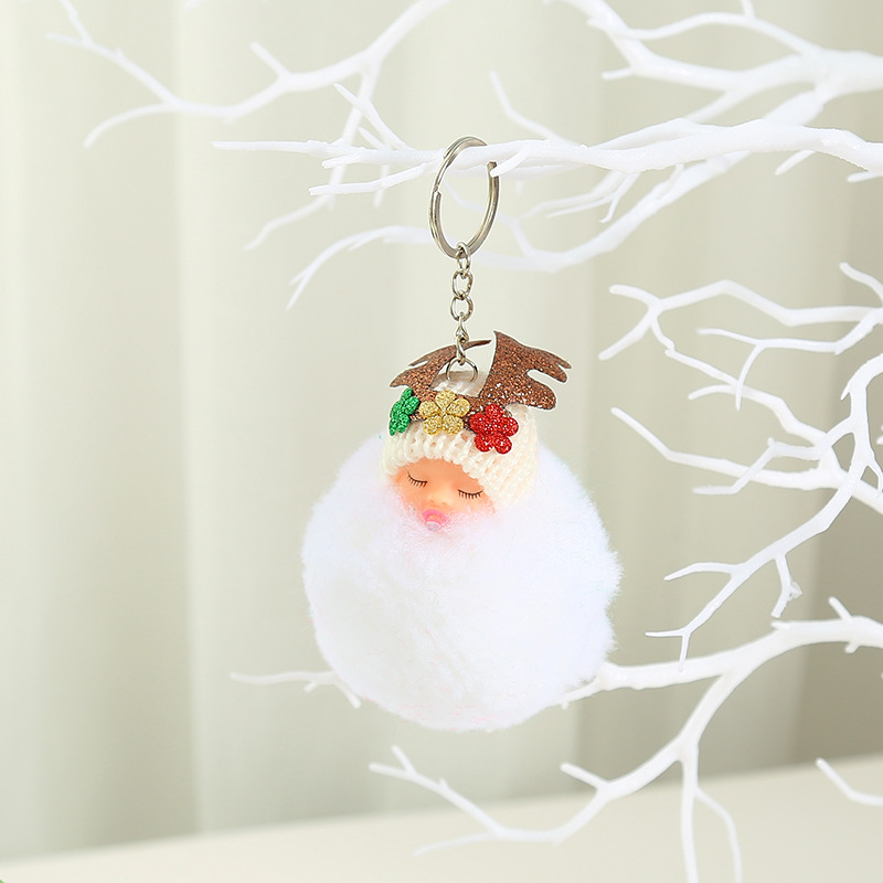 Adorable Fluffy Baby Keychain for Amusing Christmas Gifts