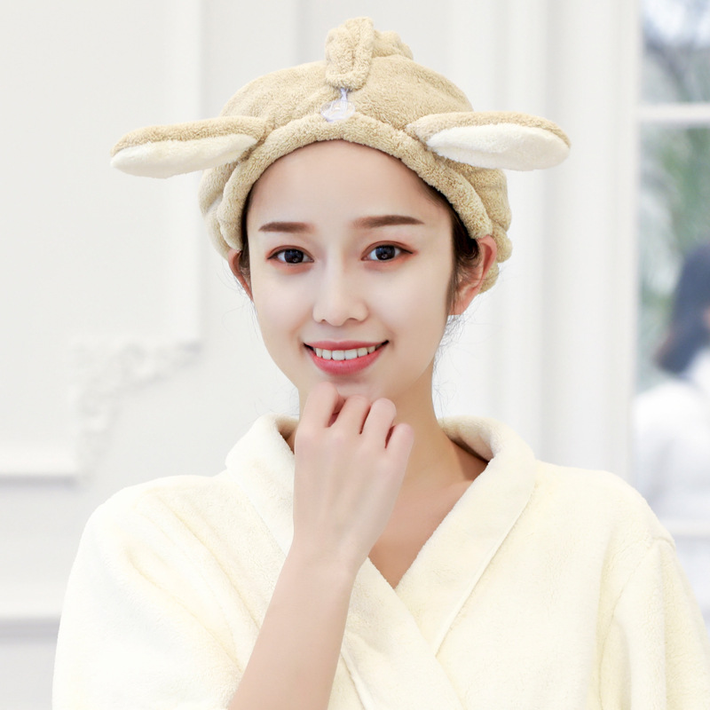 Cute Bunny Ears Absorbent Shower Cap for Drying Hair
