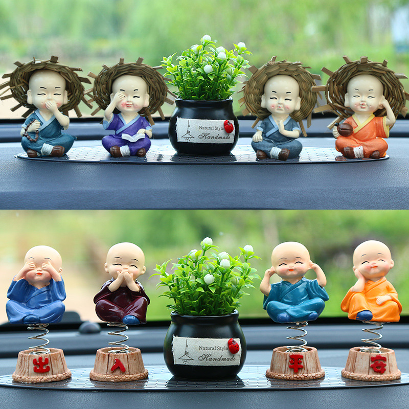 Little Monk Car Decor for Small Dashboard Decorations