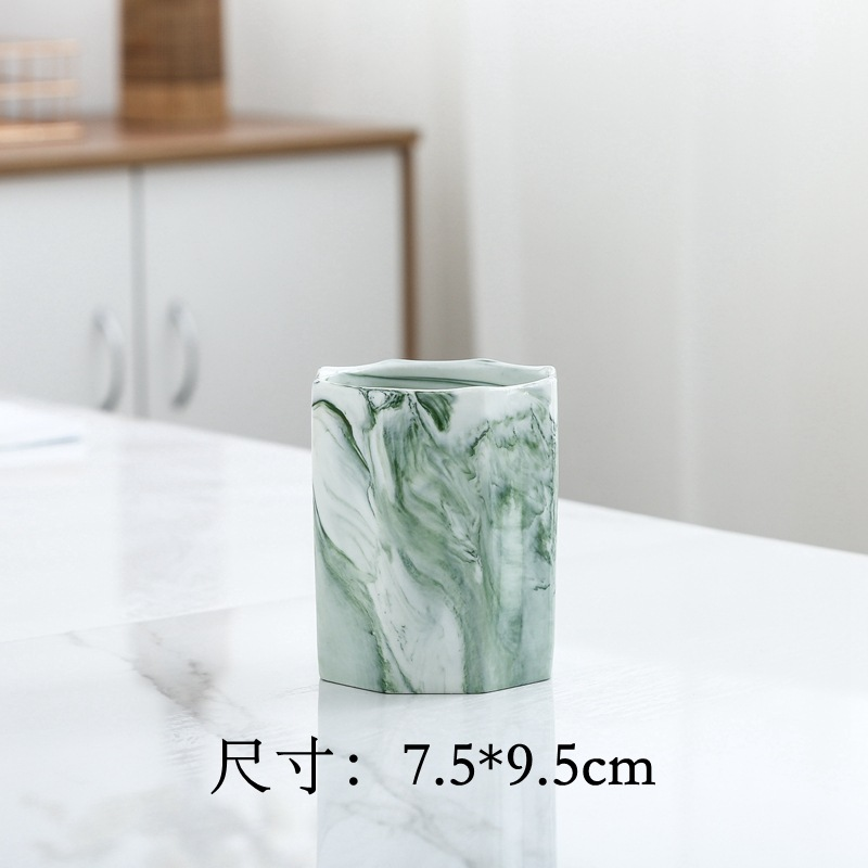 Two-Tone Marble-Like Pen Holder for Study Room