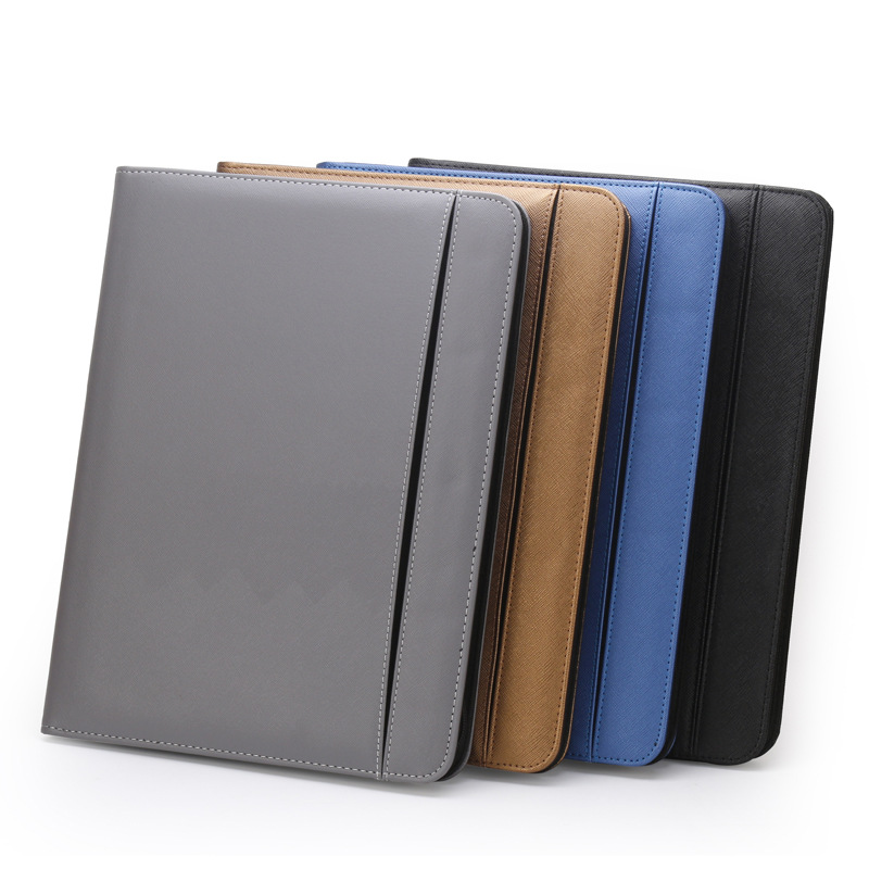 Multifunctional Faux Leather Zippered Notebook for Office Use