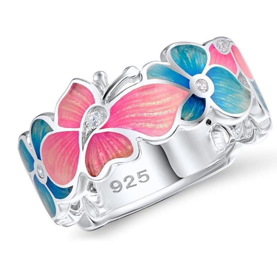 Pink Butterfly and Blue Flower Ring