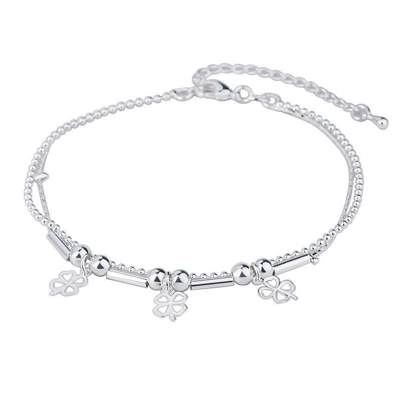 Lucky Clover Outline Charm Anklet