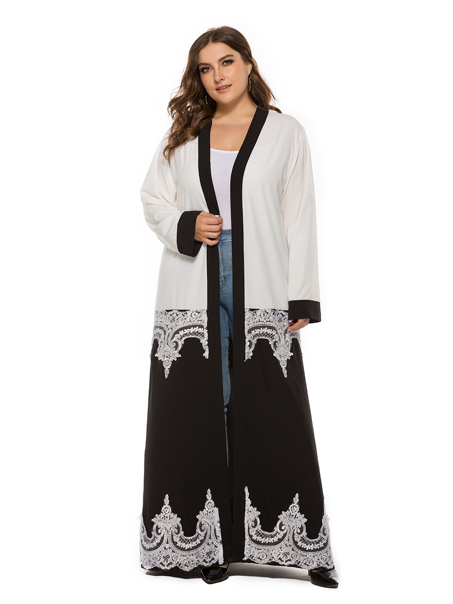 Lovely Black and White Long-Sleeve Lace Shawl for Honeymoon Night
