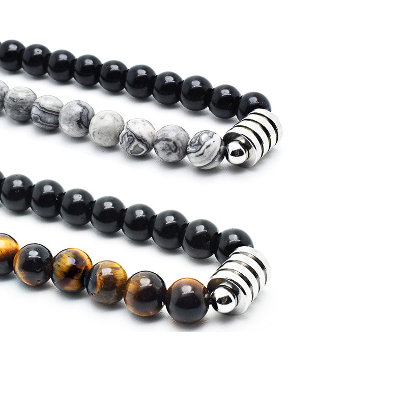 Two-Tone Stone Beads Titanium Steel Necklace for Beach Outfits
