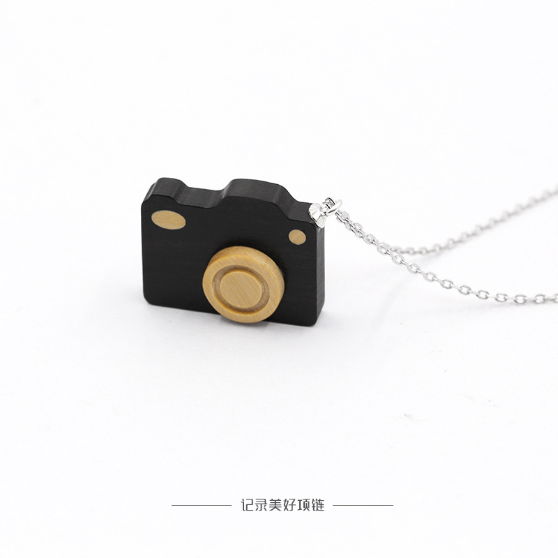 Wooden Camera Pendant Necklace with Sterling Silver Chain for Sentimental Gifts
