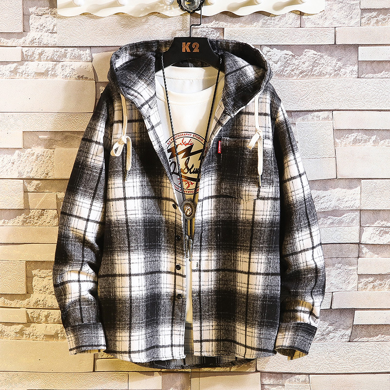 In-Style Loose Hoody Plaid Shirt for Autumn Season