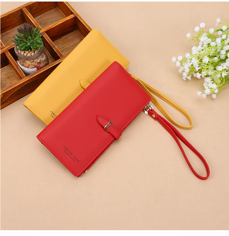 Fancy Pure-Colored Wrist Wallet For Card and Bills Compartment