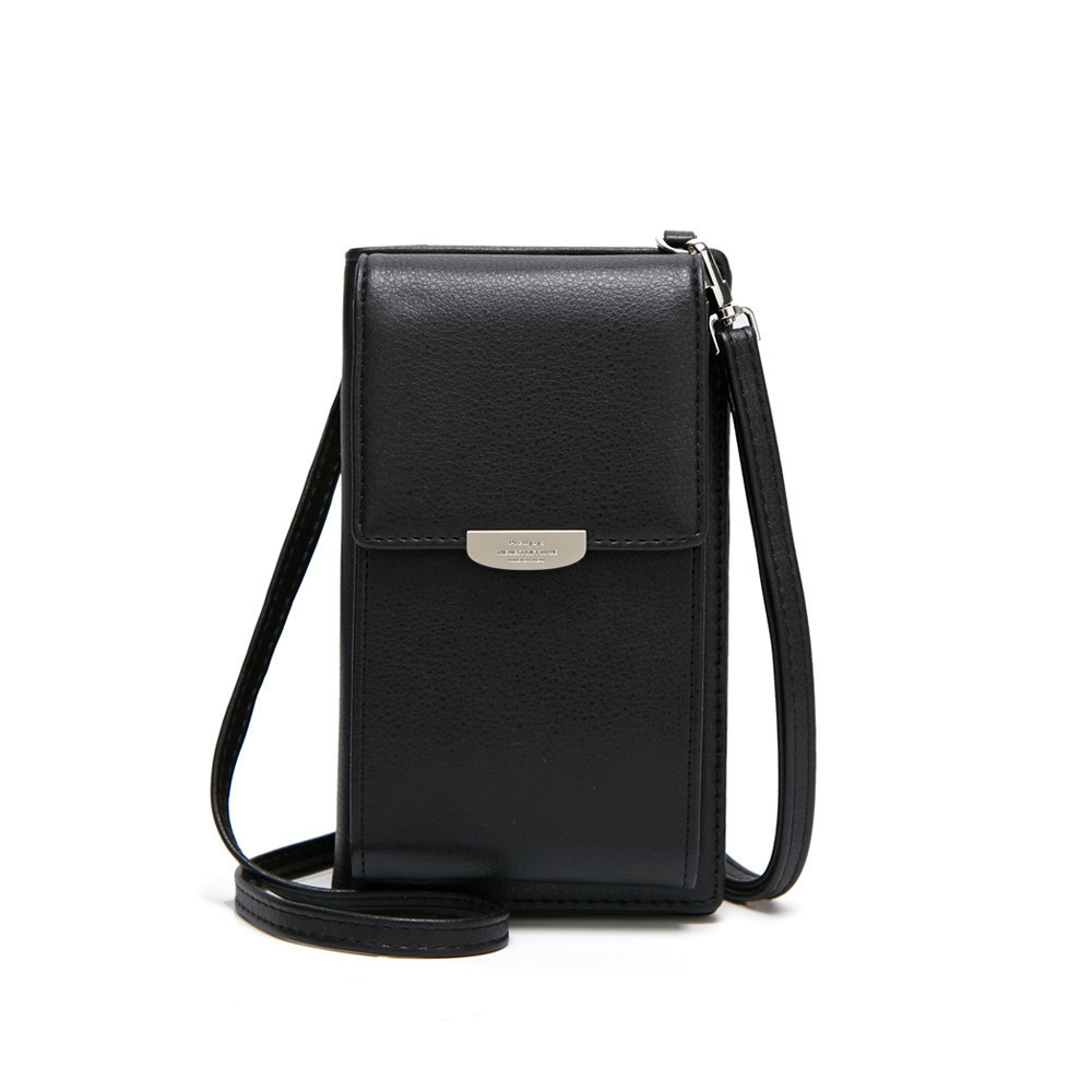 Rectangular Synthetic Leather Mobile Bag with Shoulder Strap for Everyday Wear
