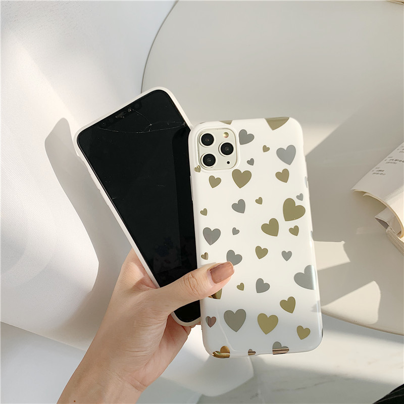 Gold and Silver Hearts Mobile Case for iPhone
