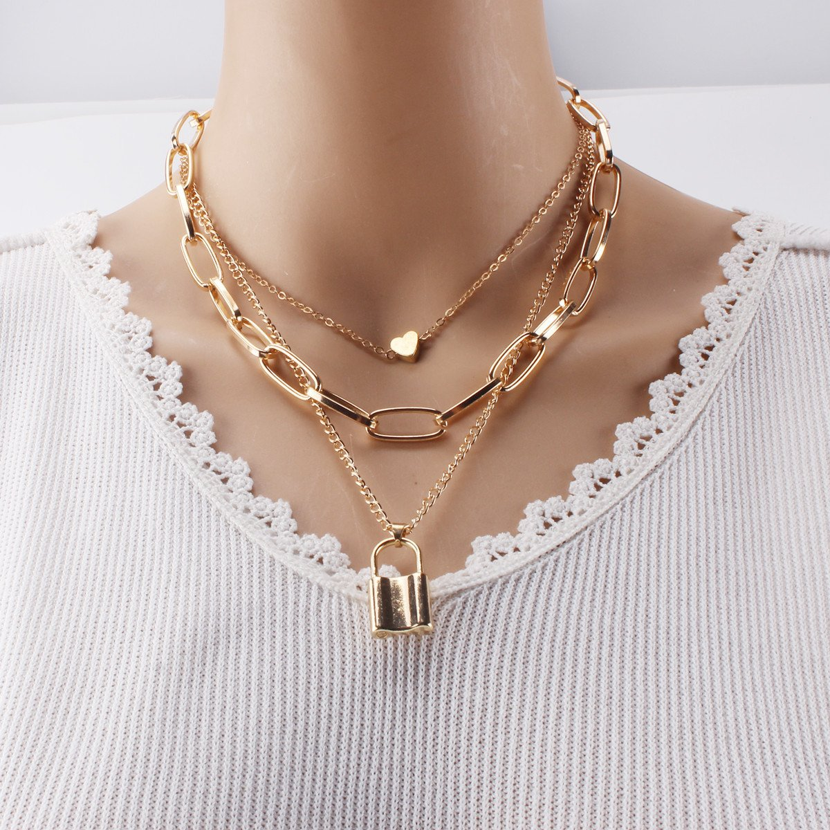 Heart and Lock Multi-Layered Necklace