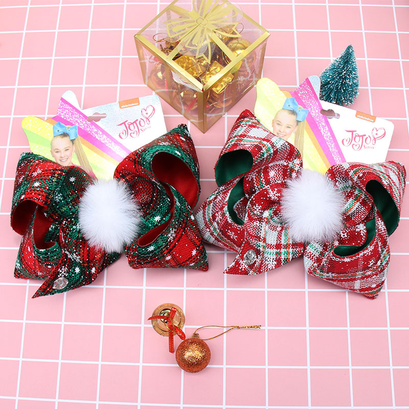 Chic Plaid Bowknot Hair Clip for Christmas Day