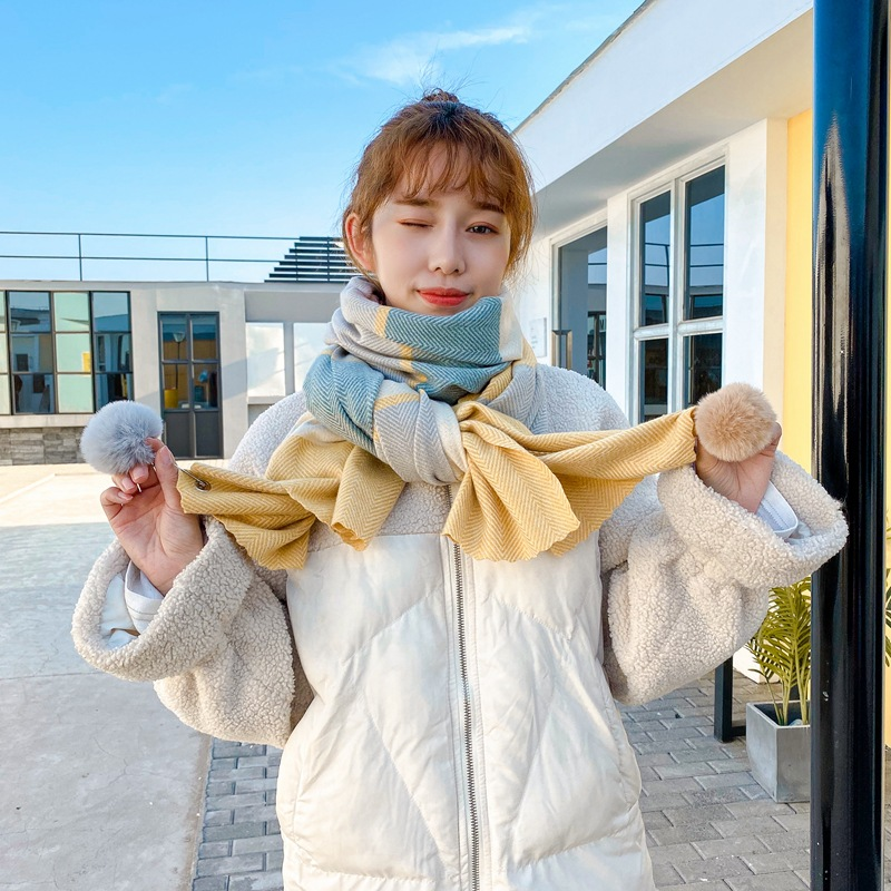 Fluffy Poms and Soft Color Scarves for Protection Against Cold Winds