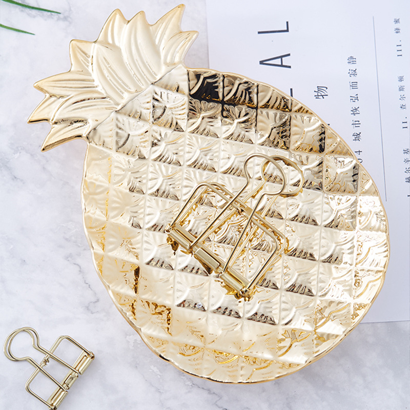 Contemporary Golden Pineapple Tabletop Tray for Jewelry