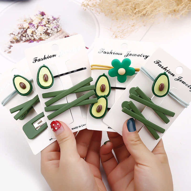 Adorable Green-Themed Avocado Hair Clips and Tie for Girlish Gifts
