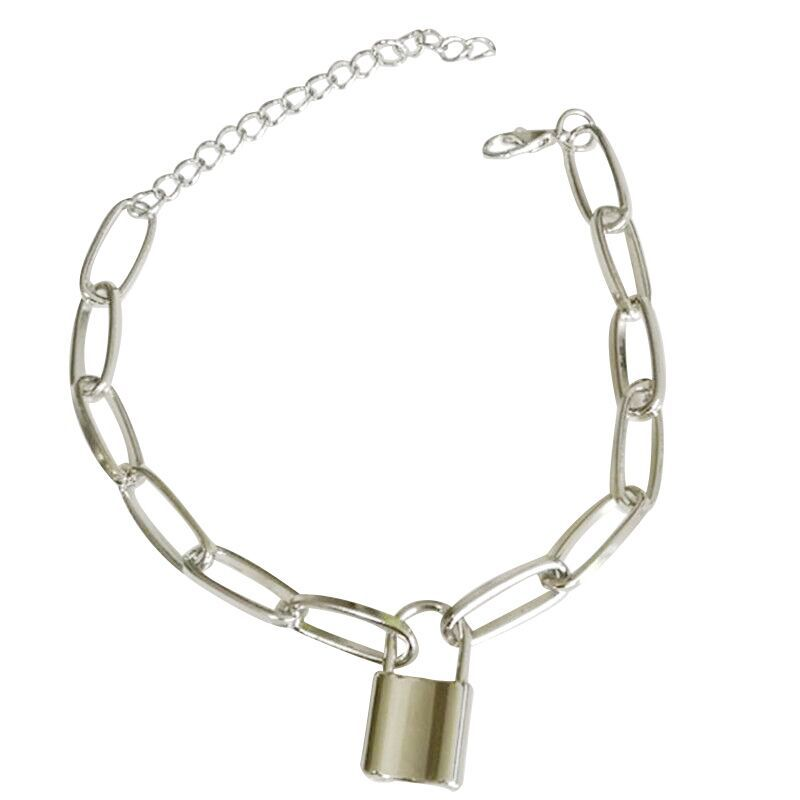 Chunky Lock Chain Alloy Anklet for Street Style Fashion