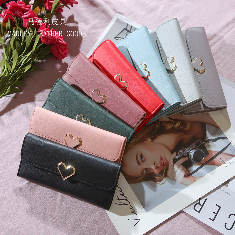 Compact Gold Heart Trifold Flap Wallet for Styling Cute Outfits