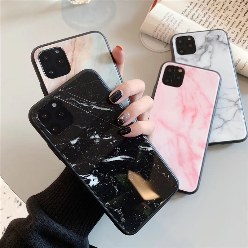 Marbled Tempered Glass Shell Case for Apple iPhones