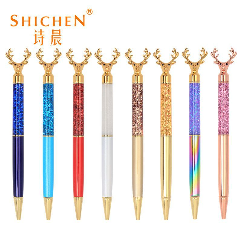 Crystal Deer Head Ballpoint Pen for School and Office Use