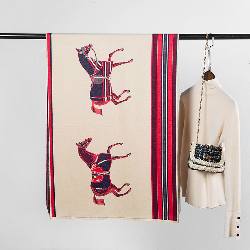 Immense Horse-Printed Cashmere Style Scarf for Elite Fashion