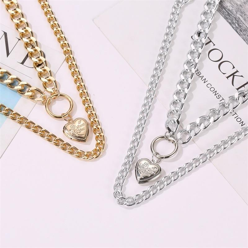 Double-strand Curb Chain Heart Pendant Necklace