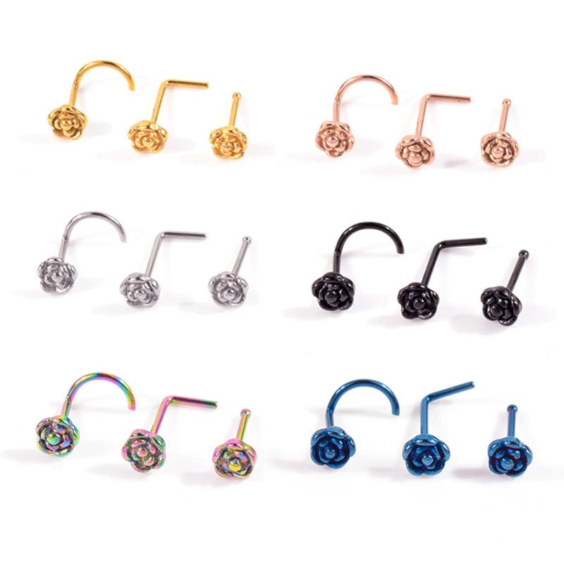 3-Piece Rose Stainless Steel Nose Studs Set (Color Varies per Set)