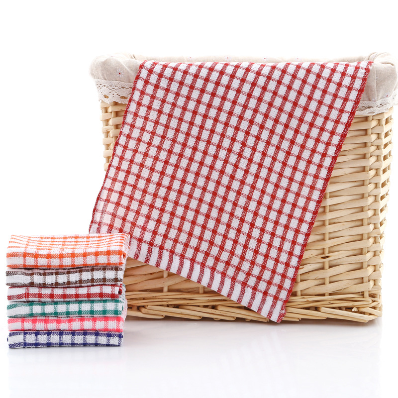 Absorbent Window Pane Plaid Kitchen Towel for Kitchen Use