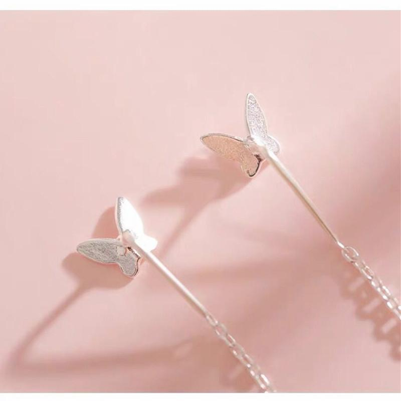 Silver Butterfly Long Earrings