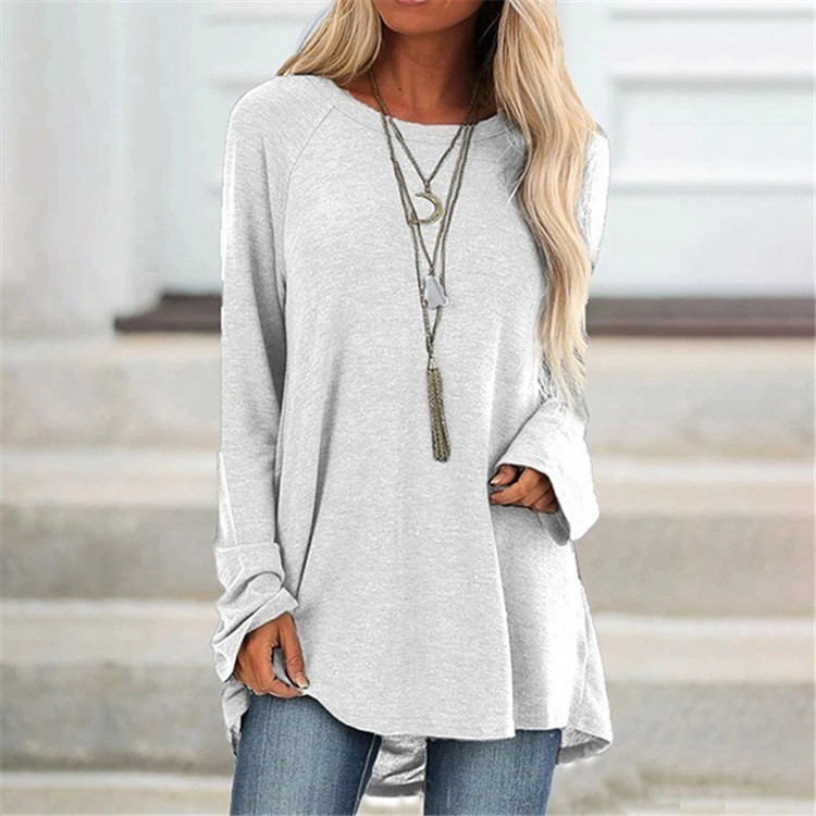 Long Solid Color Round Neck T-shirt for Autumn