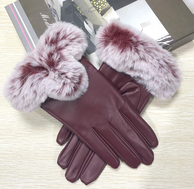 Faux Fur Trimmed Artificial Leather Gloves for Classy Get-Ups