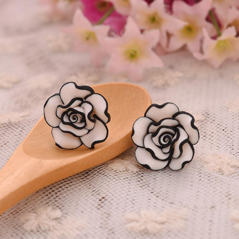 Black and White Rose Stud Earrings