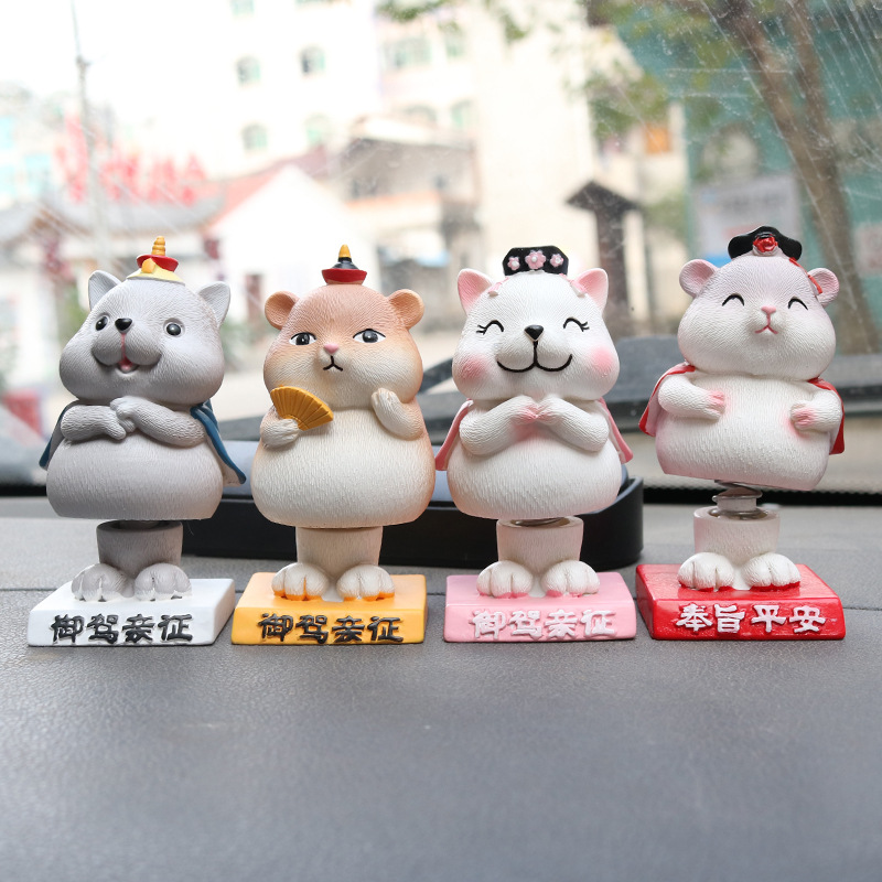 Cute Little Animals Resin Car Display for Creative Dashboards