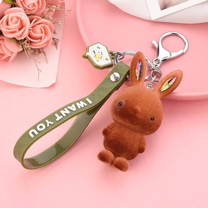 """Colored Bunny Keychain Charm and """"I WANT YOU"""" Wristlet for Organizing Your Keys"""