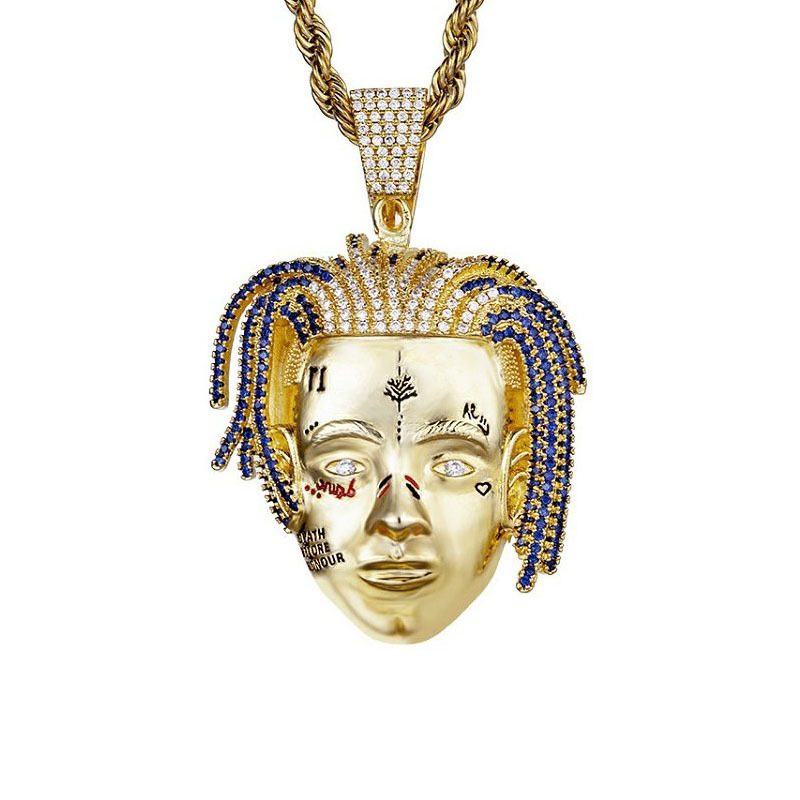 Determined Alloy Face Pendant Necklace for Goal Centered People