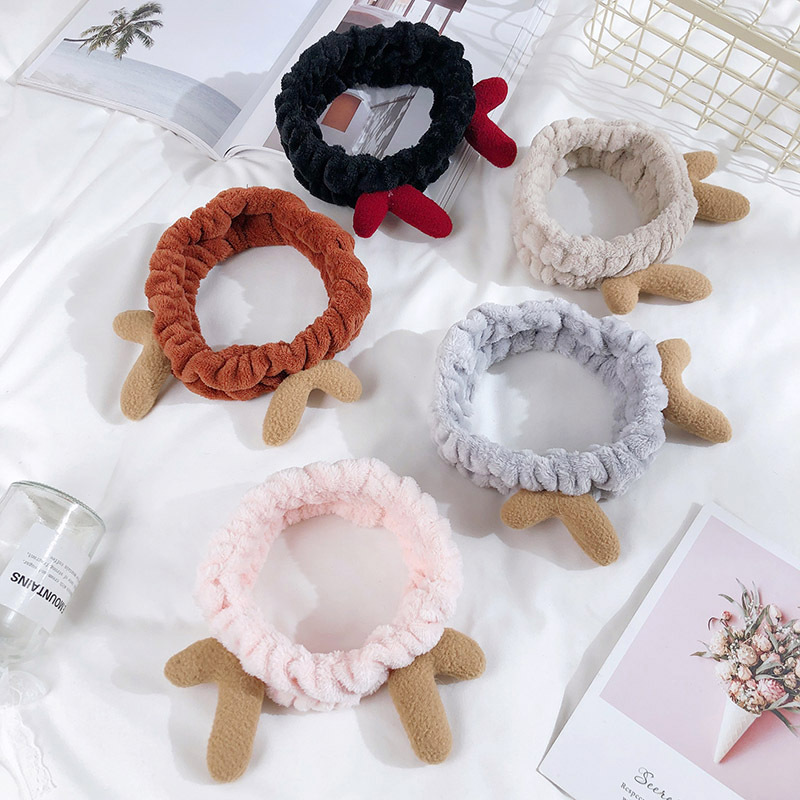 Stubby Reindeer Antlers Beauty Headband for Skin Care Routines