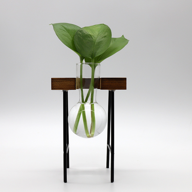 Astounding Wood and Glass Bottle Rack for Plant Stems