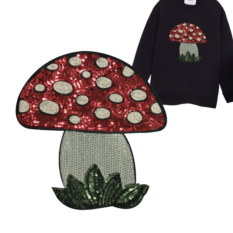 Sequined Mushroom Patch for Wild and Edgy Outfits