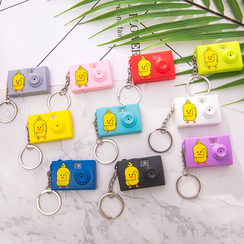 Yellow Ducky's Faux Camera Keychain Charm for Adorable Photographers