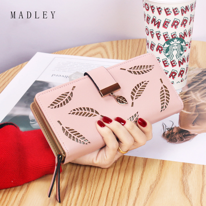 Leaf Printed Faux Leather Long Wallet for Stylish Girls